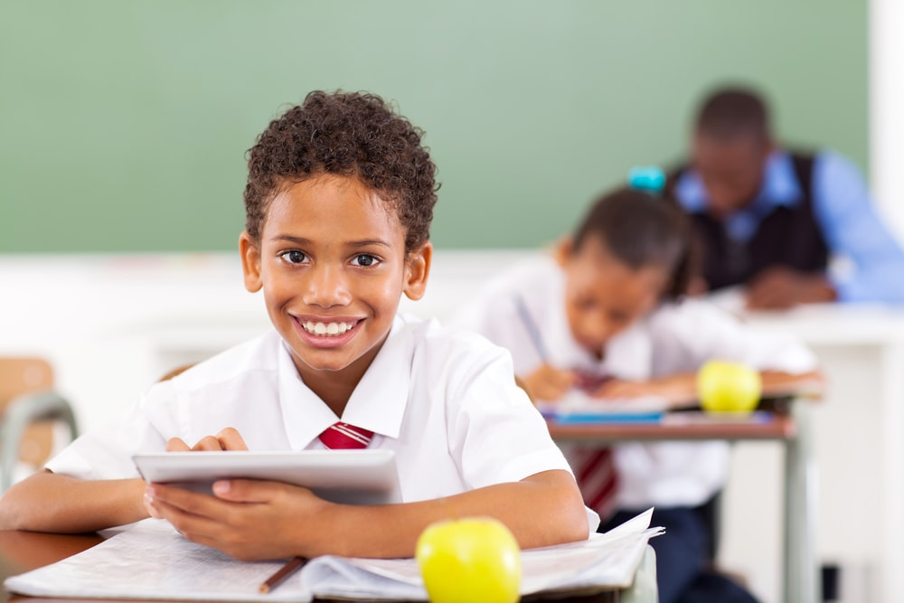 boy succeeds at school